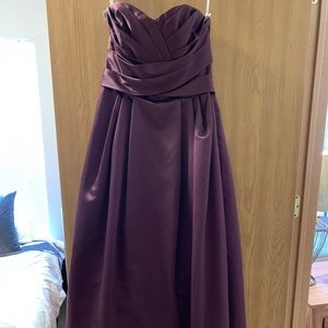 Purple satin prom, bridesmaid, or formal gown.